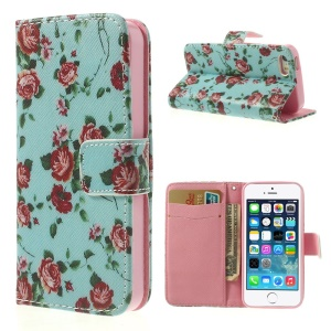 Pretty Flowers for iPhone 5 5s Cross Pattern Leather Wallet Case - Blue Background