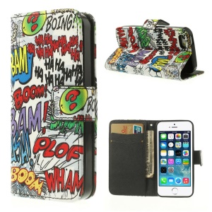 Leather Wallet Case for iPhone 5 5s Graffiti HAHA BOOM Pattern