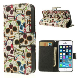 For iPhone 5 5s Colorful Skulls Leather Card Holder Case