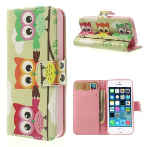 Three Owls Standing on the Branch for iPhone 5 5s Leather Card Slot Case with Stand