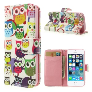 For iPhone 5 5s Multiple Owls Leather Card Holder Cover
