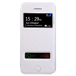Baseus Pure View Series Dual Window View Leather Flip Cover for iPhone 5 5s - White
