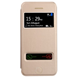 Baseus Pure View Series Dual Window View Flip Leather Case for iPhone 5 5s - Champagne