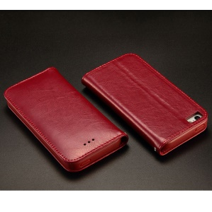 KLD Royale Series for iPhone 5 5s Leather Stand Case with Card Slot - Wine Red