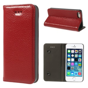 Red Dual Suction Cups Litchi Skin Genuine Leather Stand Cover for iPhone 5 5s