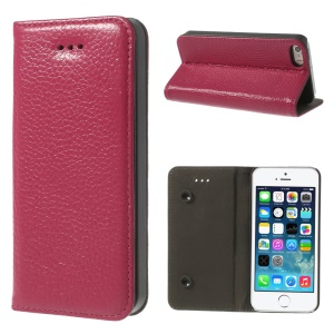 Rose Dual Suction Cups Litchi Skin Genuine Leather Case w/ Stand for iPhone 5 5s