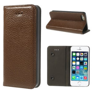 Brown Dual Suction Cups Litchi Skin Genuine Leather Cover w/ Stand for iPhone 5 5s