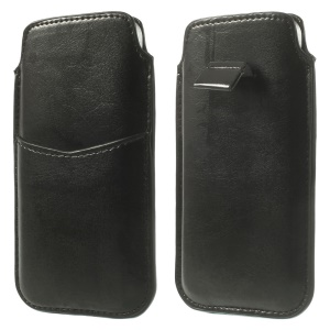 Black Crazy Horse Pattern Soft Leather Pouch Cover w/ Pull Tab for iPhone 5c 5s 5 4S 4, Size: 13 x 7cm