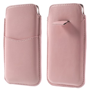Pink Crazy Horse Pattern Soft Leather Pouch Case w/ Pull Tab for iPhone 5c 5s 5 4S 4, Size: 13 x 7cm
