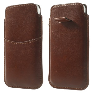Brown Crazy Horse Pattern Soft Leather Pouch Case w/ Pull Tab for iPhone 5c 5s 5 4S 4, Size: 13 x 7cm