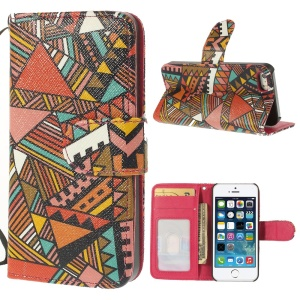 Triangle Tribal Pattern Magnetic Wallet Leather Cover Stand for iPhone 5 5s