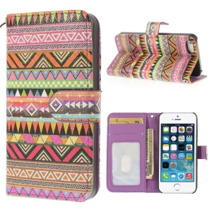 Geometric Tribal Pattern Magnetic Card Wallet Leather Case for iPhone 5 5s w/ Stand