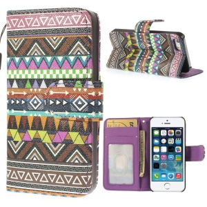 For iPhone 5 5s Tribal Stripe Pattern Magnetic Card Slot Leather Cover w/ Stand