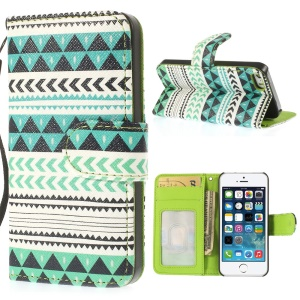For iPhone 5 5s Magnetic Card Slot Leather Cover w/ Stand Aztec Tribal Pattern