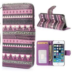 For iPhone 5 5s Magnetic Leather Flip Cover w/ Stand & Card Slots Ethnic Tribal Pattern