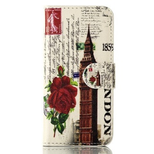 For iPhone 5 5s UK Big Ben & Roses Magnetic Wallet Leather Flip Case w/ Stand