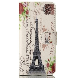 For iPhone 5 5s Eiffel Tower & Postcard Magnetic Wallet Leather Cover w/ Stand
