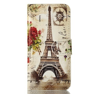For iPhone 5 5s Roses & Eiffel Tower Magnetic Wallet Leather Shell w/ Stand