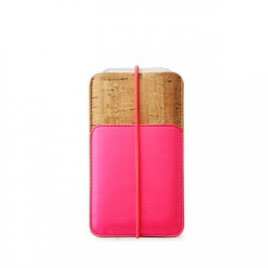 Zenus E-Cork Leather Pouch for iPhone 5s 5 5c 4s 4, Size: 13 x 7.8cm - Pink