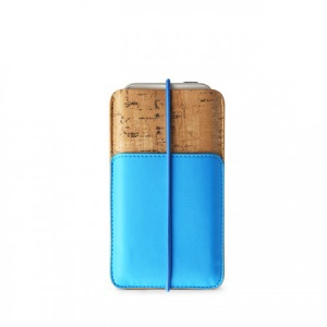 Zenus E-Cork Leather Pouch Cover for iPhone 5s 5 5c 4s 4, Size: 13 x 7.8cm - Blue