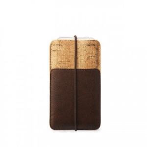 Zenus E-Cork Leather Case Pouch for iPhone 5s 5 5c 4s 4, Size: 13 x 7.8cm - Dark Brown