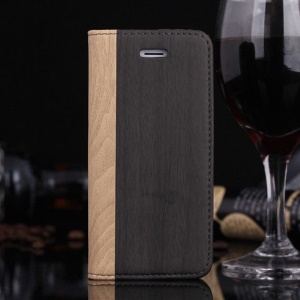 Wood Pattern Leather Card Holder Case w/ Stand for iPhone 5s 5 - Grey