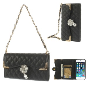 Black for iPhone 5s 5 Stitching Rhombus Leather Card Holder Case w/ Short & Long Chains