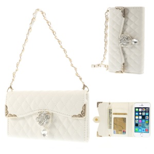 White for iPhone 5s 5 Stitching Rhombus Leather Card Holder Case w/ Short & Long Chains