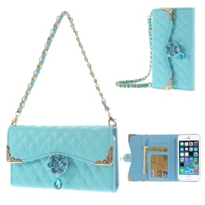 Sky Blue for iPhone 5s 5 Stitching Rhombus Leather Card Slot Case w/ Short & Long Chains