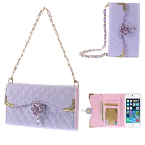 Purple for iPhone 5s 5 Stitching Rhombus Leather Card Slot Case w/ Short & Long Chains