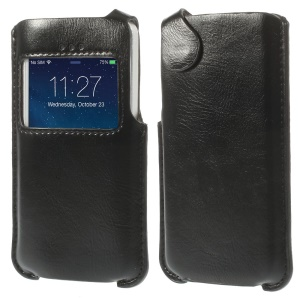 Crazy Horse View Window PU Leather Pouch Case for iPhone 5s 5 5c - Black