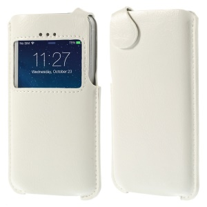 Crazy Horse View Window PU Leather Case Pouch for iPhone 5s 5 5c - White