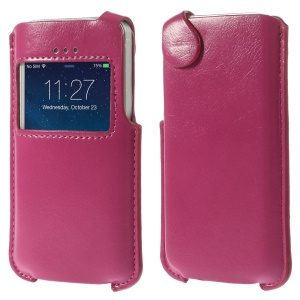 View Window Crazy Horse PU Leather Cover Pouch for iPhone 5s 5 5c - Rose