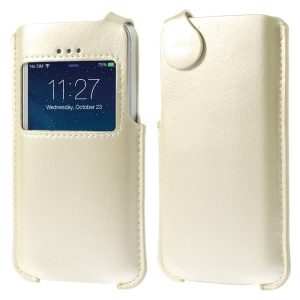 View Window Crazy Horse Leather Pouch Case for iPhone 5s 5 5c - Champagne