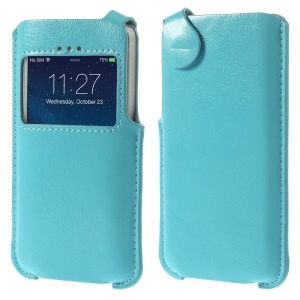 For iPhone 5s 5 5c View Window Crazy Horse Leather Case Pouch - Blue