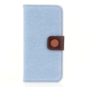 For iPhone 5 5S Jeans Cloth Magnetic Wallet Leather Stand Case - Light Blue