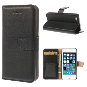 For iPhone 5s 5 Smooth Leather Wallet Case w/ Stand - Black
