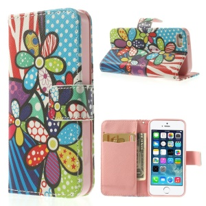 Cartoon Flowers Leather Wallet Stand Cover for iPhone 5s 5
