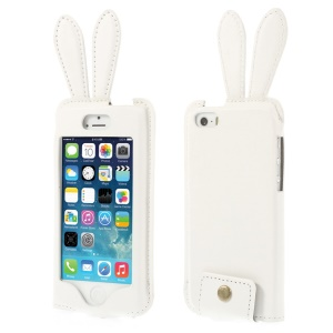 Ribbit Shaped Full Window PU Leather Case w/ Lanyard for iPhone 5s 5 - White