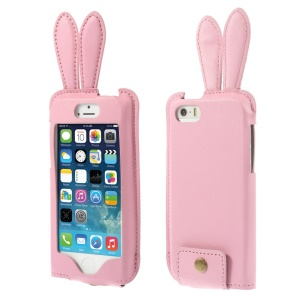 Ribbit Shaped Full Window PU Leather Shell Cover w/ Lanyard for iPhone 5s 5 - Pink