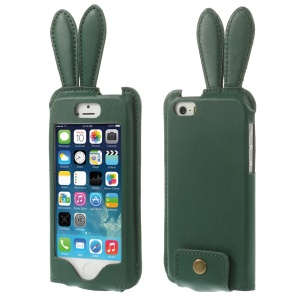 Ribbit Shaped Full Window PU Leather Case Cover w/ Lanyard for iPhone 5s 5 - Green