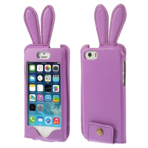 Ribbit Shaped Full Window View Leather Case Shell w/ Lanyard for iPhone 5s 5 - Purple