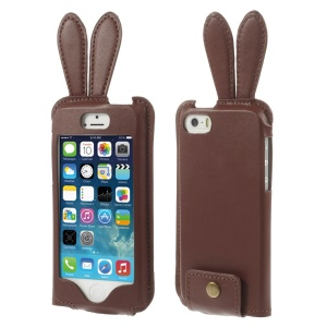 Ribbit Shaped Full Window View Leather Case w/ Lanyard for iPhone 5s 5 - Coffee
