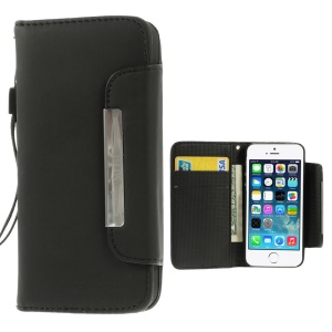 Matte Surface Wallet Leather Magnetic Case w/ Lanyard for iPhone 5s 5 - Black