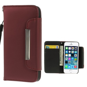 Matte Surface Wallet Leather Magnetic Cover w/ Lanyard for iPhone 5s 5 - Red