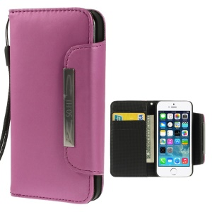 Matte Surface Wallet Leather Magnetic Shell w/ Lanyard for iPhone 5s 5 - Rose