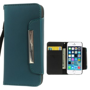 Matte Surface Wallet Leather Magnetic Shell Cover w/ Lanyard for iPhone 5s 5 - Green