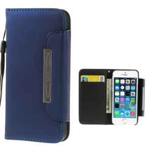 Matte Surface Wallet Leather Magnetic Case Shell w/ Lanyard for iPhone 5s 5 - Blue