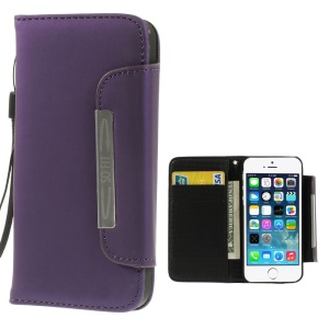 Matte Surface Wallet Leather Magnetic Case Cover w/ Lanyard for iPhone 5s 5 - Purple