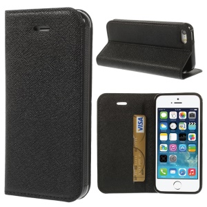 Cross Texture Leather Card Holder Case w/ Stand for iPhone 5s 5 - Black